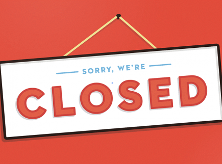 closed sign on red background