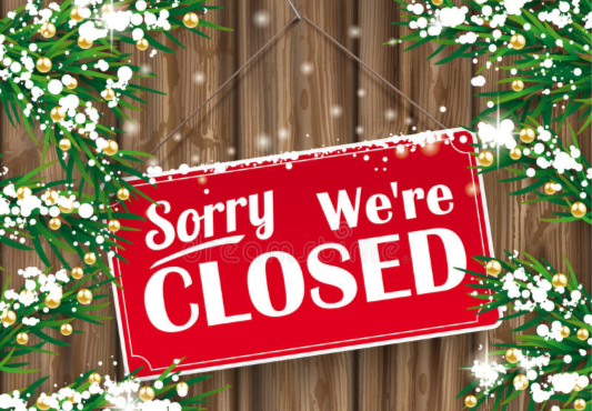 closed sign christmas