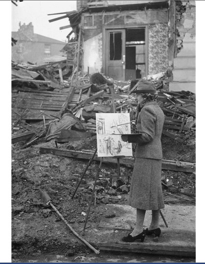 War Artist Advisory Committee artist Ethel Léontine Gabain painting en plein air during the Blitz, 1940. ©IWM (Imperial War Museums)
