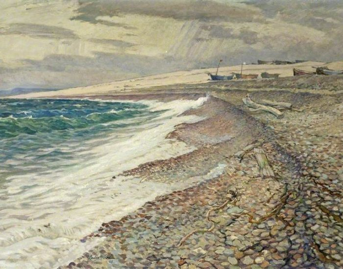 Ward, Philip Leslie Moffat; Chesil Beach, Dorset, Winter; Russell-Cotes Art Gallery & Museum; http://www.artuk.org/artworks/chesil-beach-dorset-winter-58267