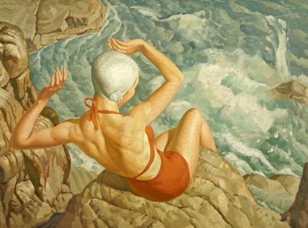 A painting of a lady wearing an red swimsuit and white swimming cap sits on rocks above splashing waves from the sea