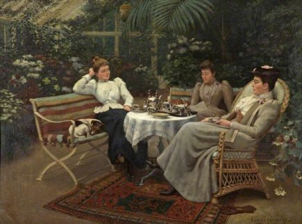 An oil painting, by Harry E J Browne, showing 3 ladies seated around a table in a conservatory leisurely enjoying tea